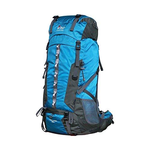 Waterproof 60L Camping Hiking Backpack- Vihir Nylon External Frame Travel Bag with Rain Cover for Men Women, Blue