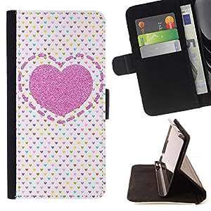 Momo Phone Case / Flip Funda de Cuero Case Cover - Modelo de lunar del amor Rosa Blanco - Samsung Galaxy A3