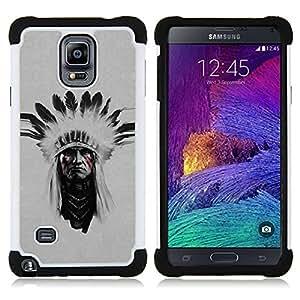 - indian man native american face painting/ H??brido 3in1 Deluxe Impreso duro Soft Alto Impacto caja de la armadura Defender - SHIMIN CAO - For Samsung Galaxy Note 4 SM-N910 N910