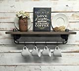 Industrial kitchen shelf, Rustic kitchen shelves, Black Iron Pipe, wall hanging, industrial décor, coffee bar and pot hanger décor home