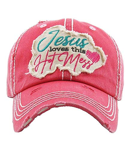 Jesus Loves This Mess Vintage Style Hat Hot Pink Baseball Cap.