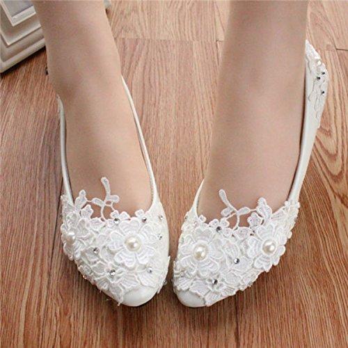 Blanc UK4 JINGXINSTORE Chaussures de mariée nuptiales en dentelle blanche à la main pour femme