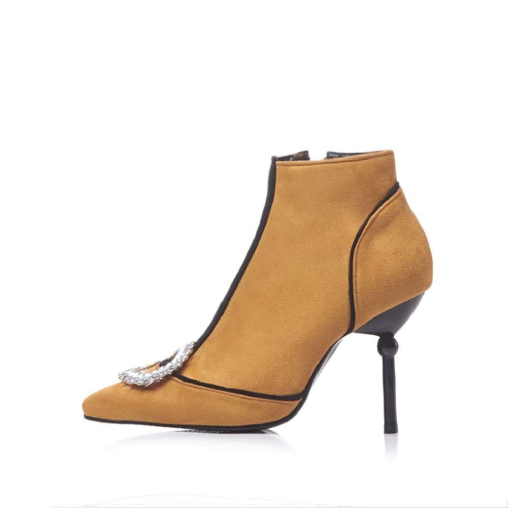HCBYJ High Heels Herbst und Winter Damenschuhe Kurze Stiefel Stiefel Stiefel Stiefel Leder Strass Stöckelschuhe Einzelne Schuhe 900c29