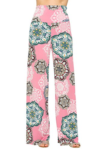 Cody Line Women's Casual Bohemian Damask Palazzo Pants (Medium, C264SKGL Pink)