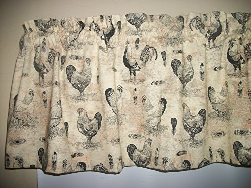 French Country Rooster Chicken farm kitchen Tan fabric curtain topper ()