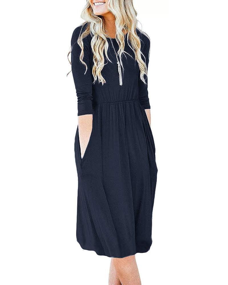 Navy bluee Navy Kathemoi Women's Long Sleeve Dresses Empire Waist Pleated Loose Swing Casual Flare Dress Pockets