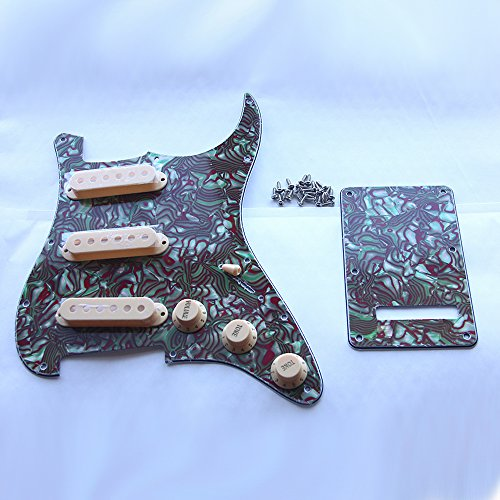 Kmise Z4705 Set Breen Shell Guitar Pickguard Back Plate Tremolo Cavity & Pickup Cover by Kmise (Image #5)