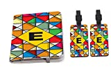 Rikki Knight Letter E Monogram Vibrant Colors Stained Glass Design Passport Holder with slots for Travel documents with 2 matching (1-sided) Luggage Identifier Tags