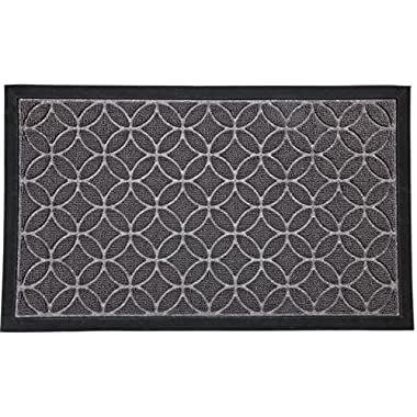 "Door mat for Your Entryway, Indoor or Outdoor; Door mats have Non Slip Rubber Backing, Grey Colored Rug With Circle Pattern, 29"" x 18"""