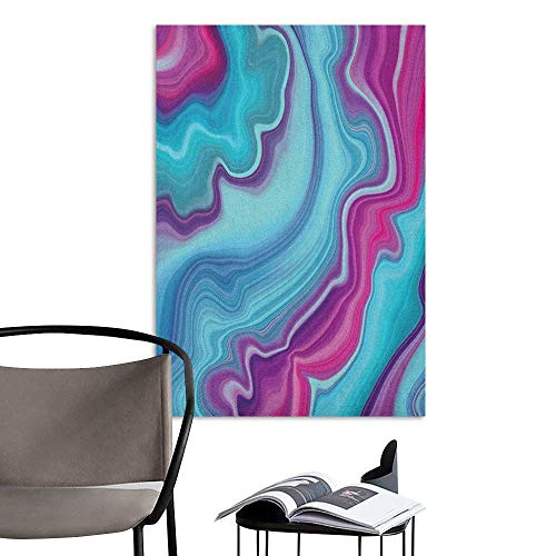 Wall Art Canvas Prints Marble Abstract Color Formation Wavy Aqua Pink Lines Agate Slab Mineral Layers Geographic Aqua Pink Stickers for Wall Home W24 x H36]()