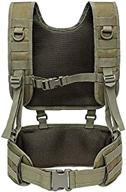 MOLLE Military Combat Belt, Outdoor H-Harness Belt Suspenders with Detachable Suspender Straps for Hunting Equ