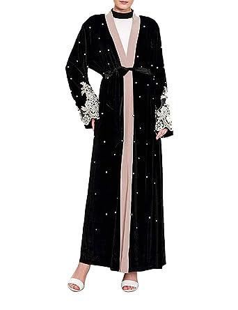 0dde1ba36c0 Amazon.com  BESBOMIG Women Velvet Abaya Muslim Cardigan Robe Dubai Islamic  Kaftan Kimonos Blouse  Clothing