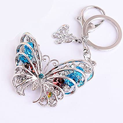 1755e111fdad Image Unavailable. Image not available for. Color  Reizteko Butterfly  Keychain Sparkling Keyring Crystal Rhinestones Purse Pendant ...