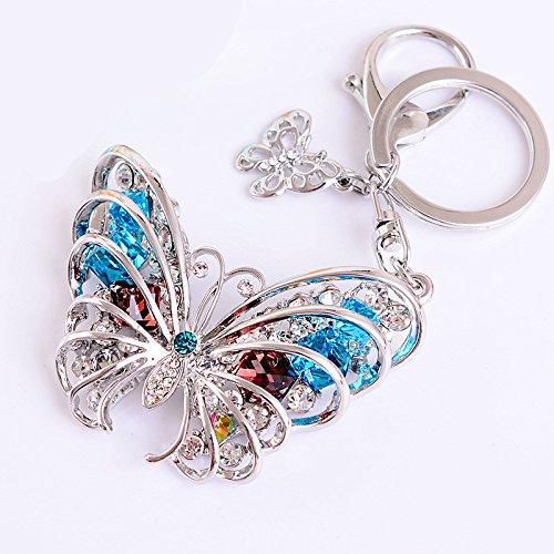 Reizteko Butterfly Keychain Sparkling Keyring Crystal Rhinestones Purse Pendant Handbag Charm Gift Bag (Silver)