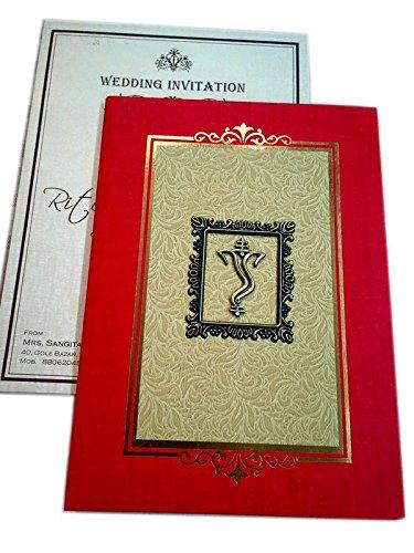 Akansha Card Red Golden Ganpati Design Wedding Invitation