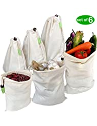 JSXD Linen Natural Organic Cotton Reusable Grocery Bags Durability & Washable Eco Friendly Cotton Muslin Produce Bags - Set of 6(2 Large 12x15in, 2 Medium 10x12in, 2 Small 8x10in)