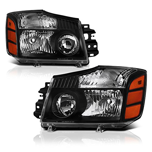 VIPMOTOZ Black Housing Headlight Lamp Assembly For 2004-2015 Nissan Titan Pickup Truck & 2005-2007 Armada, Driver & Passenger Side