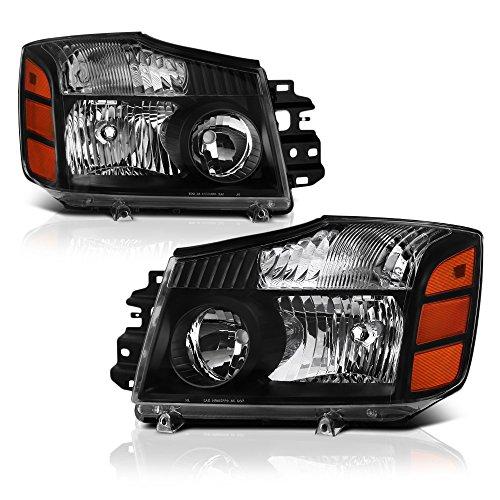 VIPMOTOZ Black Housing Headlight Lamp Assembly For 2004-2015 Nissan Titan Pickup Truck & 2005-2007 Armada, Driver & Passenger Side ()