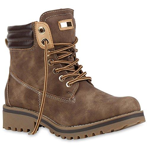 Stiefelparadies Gefütterte Damen Worker Boots Outdoor Stiefeletten Profil Sohle Flandell Braun Gefüttert