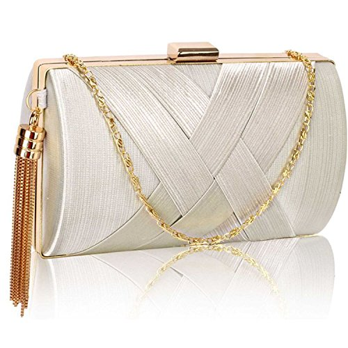 L And S Handbags Hard Case Tassel Clutch With Chain - Cartera de mano para mujer marfil