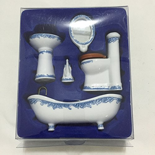Dollhouse Miniature Ceramic Bathroom Set Supplies Suites 1:12 Scale Model B
