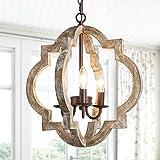 KSANA Farmhouse Orb Chandelier Handmade Wood Light