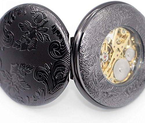 YXZQ懐中時計、男性用クラシックデザインスケルトンメカニカルスチームパンクブロンズ手巻き時計