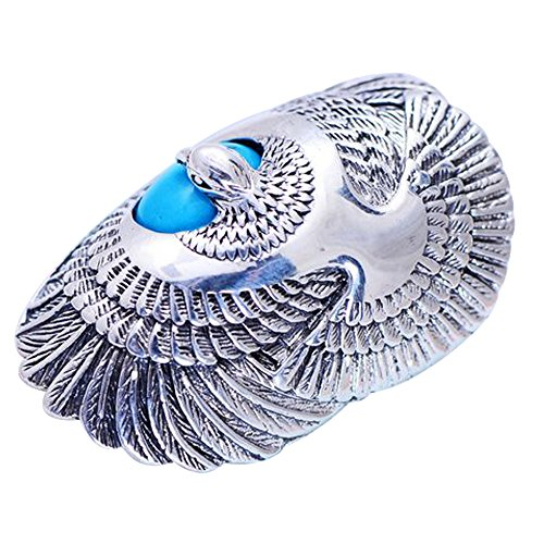 (For Fox Mens Womens Vintage 925 Sterling Silver Eagle Ring with Natural Turquoise Stone Size 11)