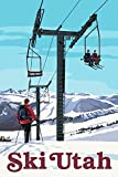 Ski Utah - Ski Lift Day Scene (24x36 Giclee Gallery Print, Wall Decor Travel Poster)