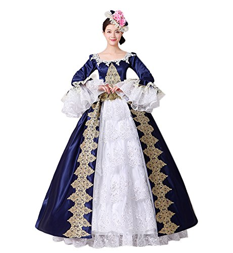 [Womens Retro Medieval Dresses Lady Satin Gothic Victorian Dress Masquerade Dress Blue 4] (Victorian Era Dress)