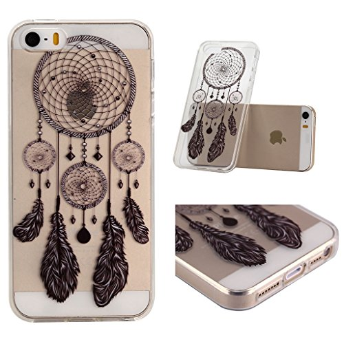 ZXLZKQ Coque pour iPhone 5 5S SE Etui Noir Blanc Dreamcatcher De Plumes Soft TPU Case Silicone Housse Coque pour Apple iPhone 5 5S SE (non applicable iPhone 5C)