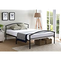 Kings Brand Black Metal Full Size Platform Bed Frame With Headboard & Footboard , Mattress Foundation / No Box Spring Needed