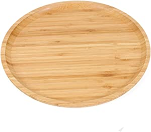 GKanMore Bamboo Serving Tray 10 Inch Bamboo Round Plate Bread Coffee Tea Tray Fruit Platter Tray for Home Hotel Restaurant (Round 10 Inch, Bamboo)