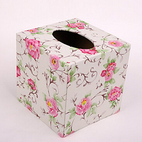 Tissue Box Leather Square Creative Personality Living Room Home Office Pumping Tray Box (Garden Flowers) from Tissue Box