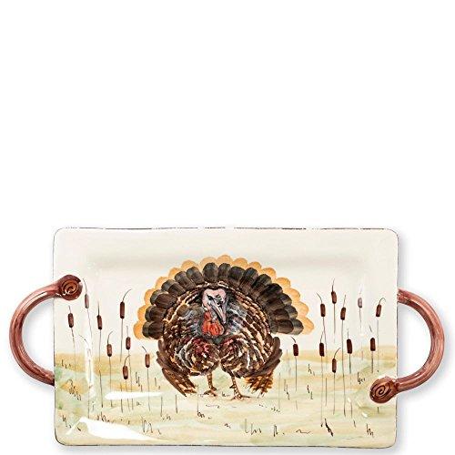 Vietri Wildlife Turkey Handled Rectangular Platter