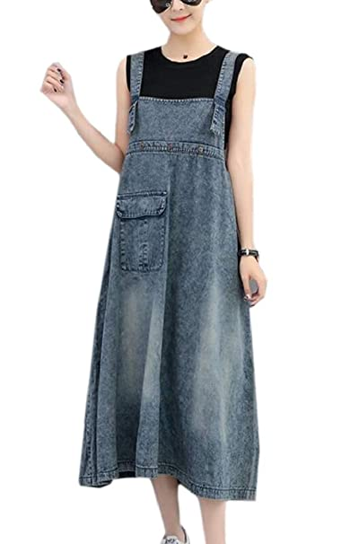 a1a4306d94c Jmwss QD Women's Plus Size Suspender Strap A Line Denim Bib Jean Maxi Overall  Dress Blue OS at Amazon Women's Clothing store: