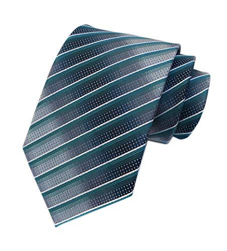 Men Stripe Peacock Green Grey Tie Woven Necktie Creative Design Gift for Dad Son