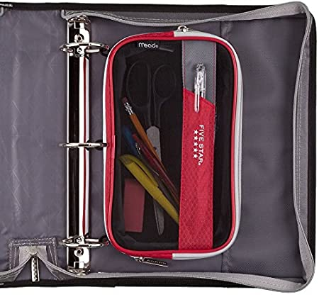 Mead Five Star Expandable Pop-Up Pouch 50218 Red Case