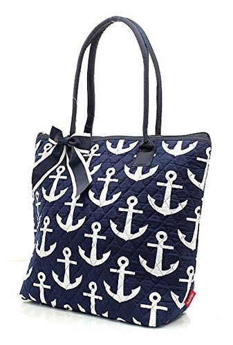 Medium 2 Anchor Tote Ngil Bag Navy Cotton Quilted Owl Blue qWfOvg4
