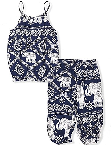 (Toddler Kids Baby Girls Summer Outfits Animal Print Vest Sleeveless Strap T-Shirt + Pants 2PCS Clothes Set (Navy, 3-4)