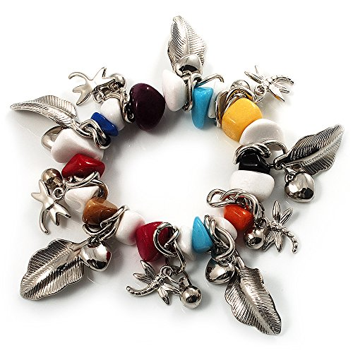 Avalaya Multicoloured Semiprecious Stone Leaf&Butterfly Charm Flex Bracelet