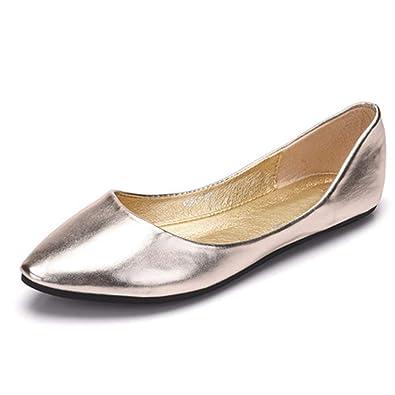 c25abca503f20 Amazon.com | Women Pointed Toe Loafers Fashion PU Leather Comfort ...