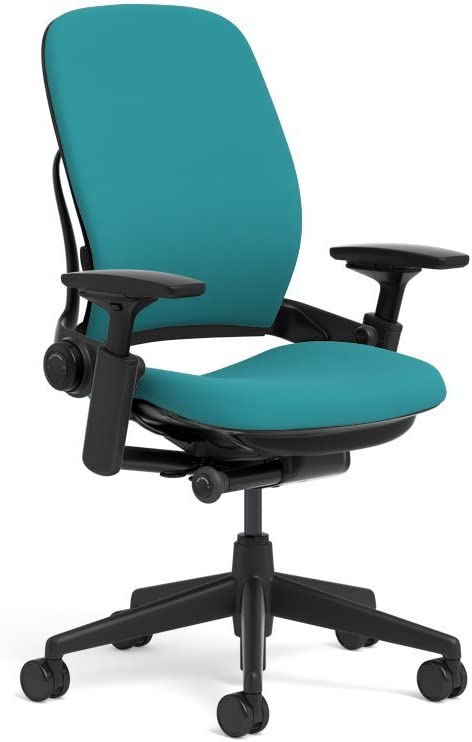 Steelcase Leap Ergonomic Office Chair with Flexible Back | Adjustable Lumbar, Seat, and Arms | Black Frame and Buzz2 Cyan Fabric
