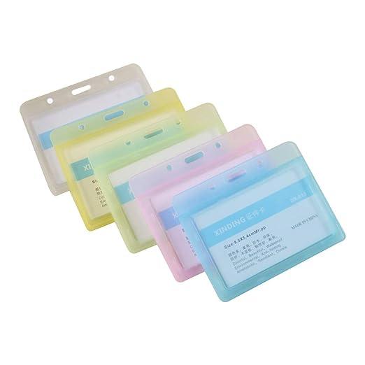 STOBOK Titulares de Tarjeta de Identificación Horizontal Colores de Plástico para Empleado de Oficina Trabajo y Negocio 5pcs