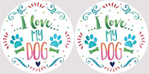 (I Love My Dog Paw Prints Family Pet Car Coasters Set of 2)