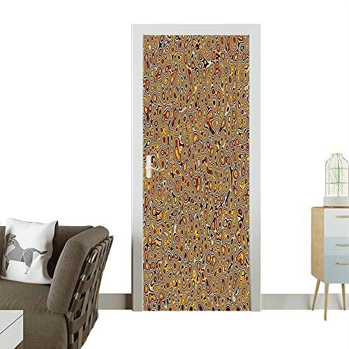 (Homesonne Door Art StickerAbstract Golden Hallucinatory Plasma Shape Ethnic Eastern Marbleized Digital Room decorationW31 x H79)