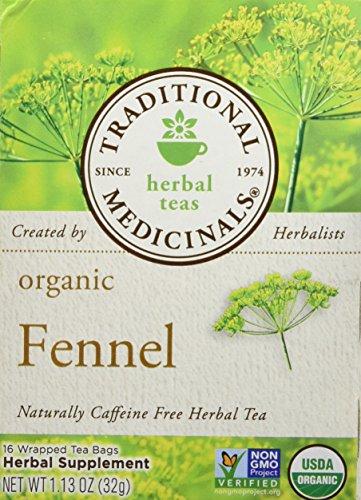 Traditional Medicinals Organic Fennel Herbal Tea - 16 bags per pack - 6 packs per case.