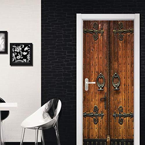 huafan Chinesische Alte Tor Holzt/ür Aufkleber 3D Vintage Wandtattoo Hauptdekorationen F/ür Wohnzimmer