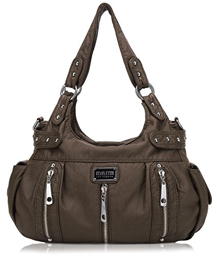 Scarleton 3 Front Zipper Washed Shoulder Bag H129221 - Coffee by Scarleton