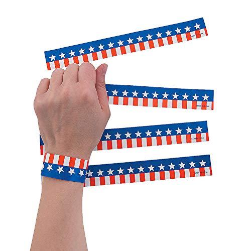 Fun Express Patriotic Printed Wristbands (100 Pieces) 8 1/2